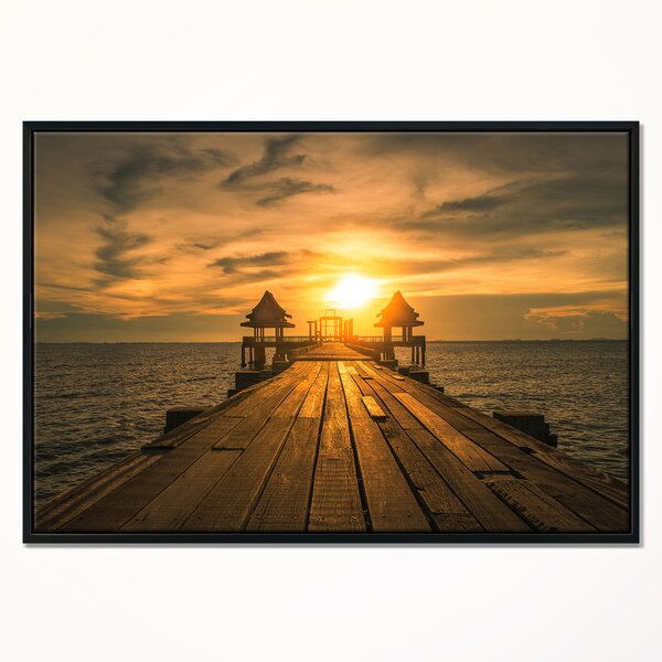 East Urban Home Huge Wooden Bridge To Illuminated Sky Framed Photographic Print On Wrapped Canvas Wayfair