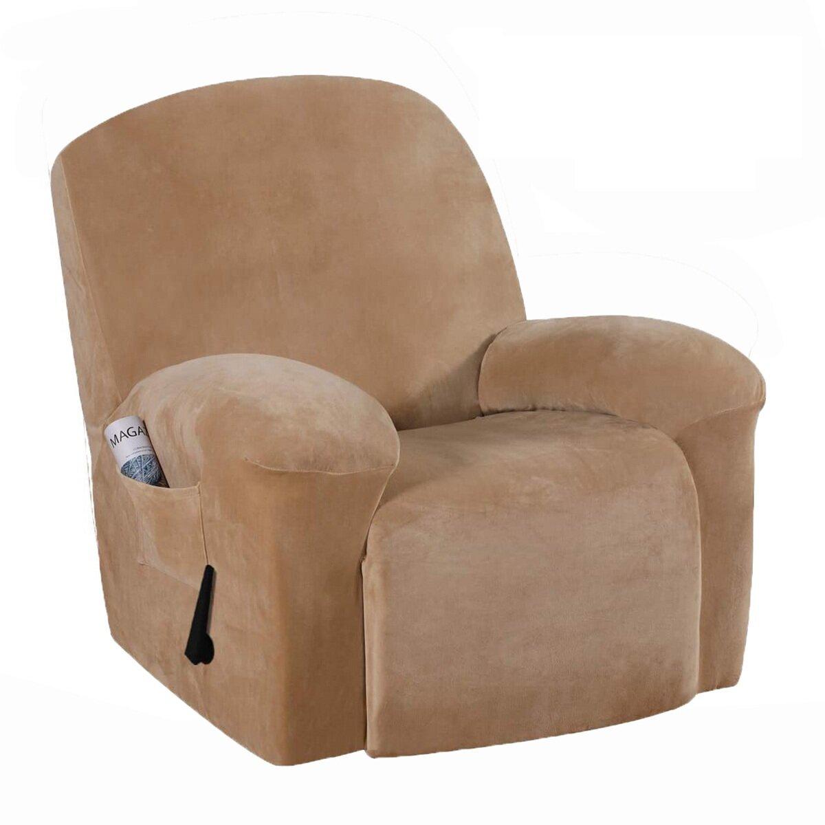 Red Barrel Studio Velvet Box Cushion Armchair Slipcover Wayfair