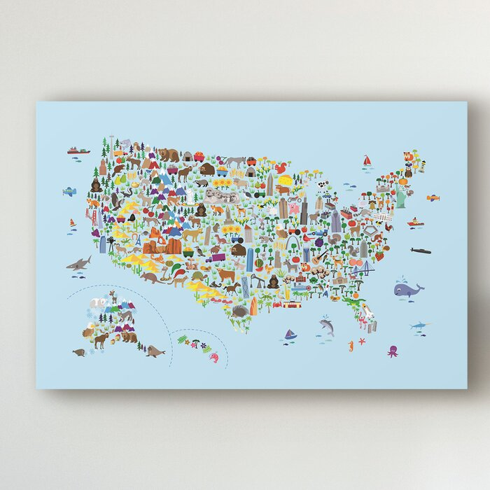 \'Animal Map of United States for Children and Kids Blue\' Canvas Art