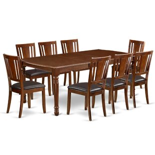 Angelia 9 Piece Extendable Solid Wood Dining Set