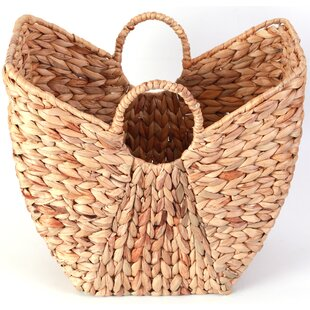 Highland Dunes Wicker Laundry Basket with Round Handles