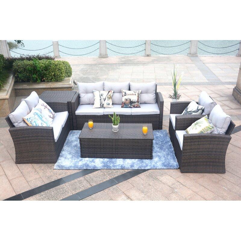 Baptist 6 Piece Rattan Sofa Set With Cushions