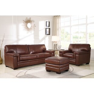 Darby Home Co Ehmann 3 Piece Leather Livi..