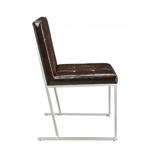 Deco Genuine Leather Upholstered Dining Chair (Set of 2)