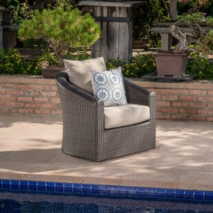 Dierdre Outdoor Wicker Swivel Patio Chair with Cushions