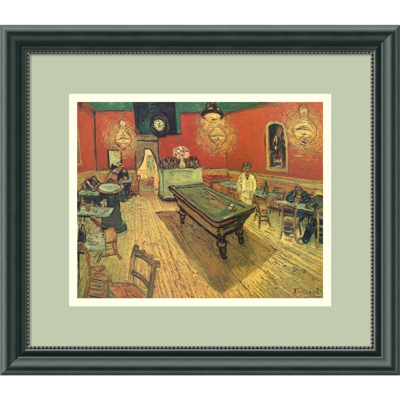 Amanti Art Night Cafe With Pool Table By Vincent Van Gogh Framed - Pool table painting