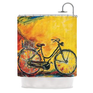 To Go by Josh Serafin Bicycle Single Shower Curtain