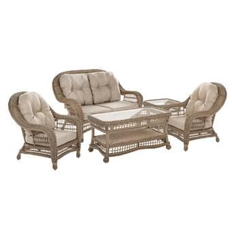August Grove Garden Patio 5 Piece Sofa Seating Group With Cushions Wayfair