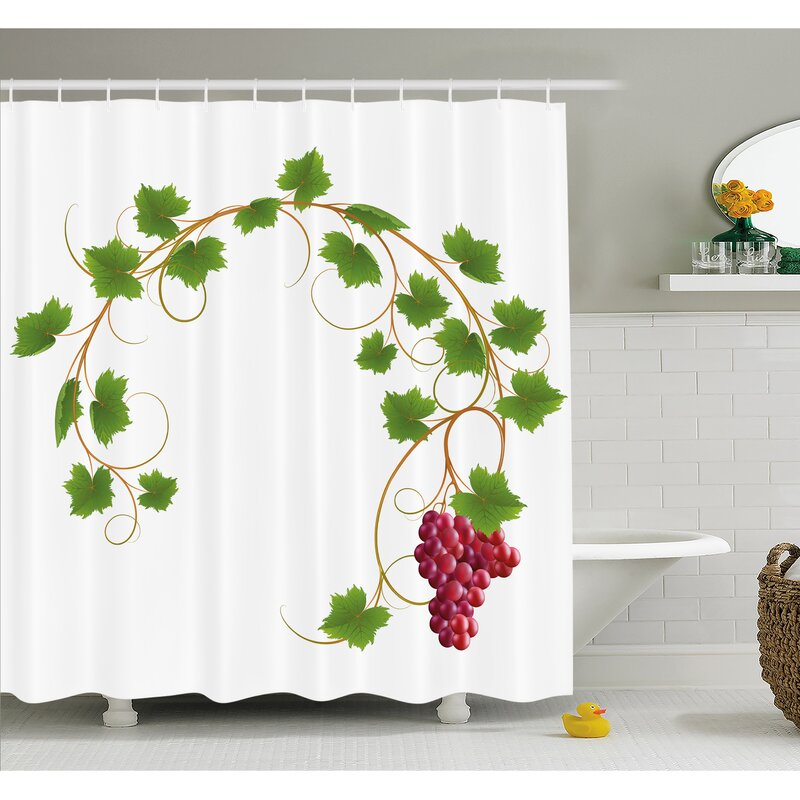 Grapes Curved Ivy Branch Deciduous Woody Wines Seed Clusters Cabernet Kitchen Shower Curtain Set