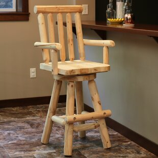 Bruce 29 Swivel Bar Stool by Millwood Pines