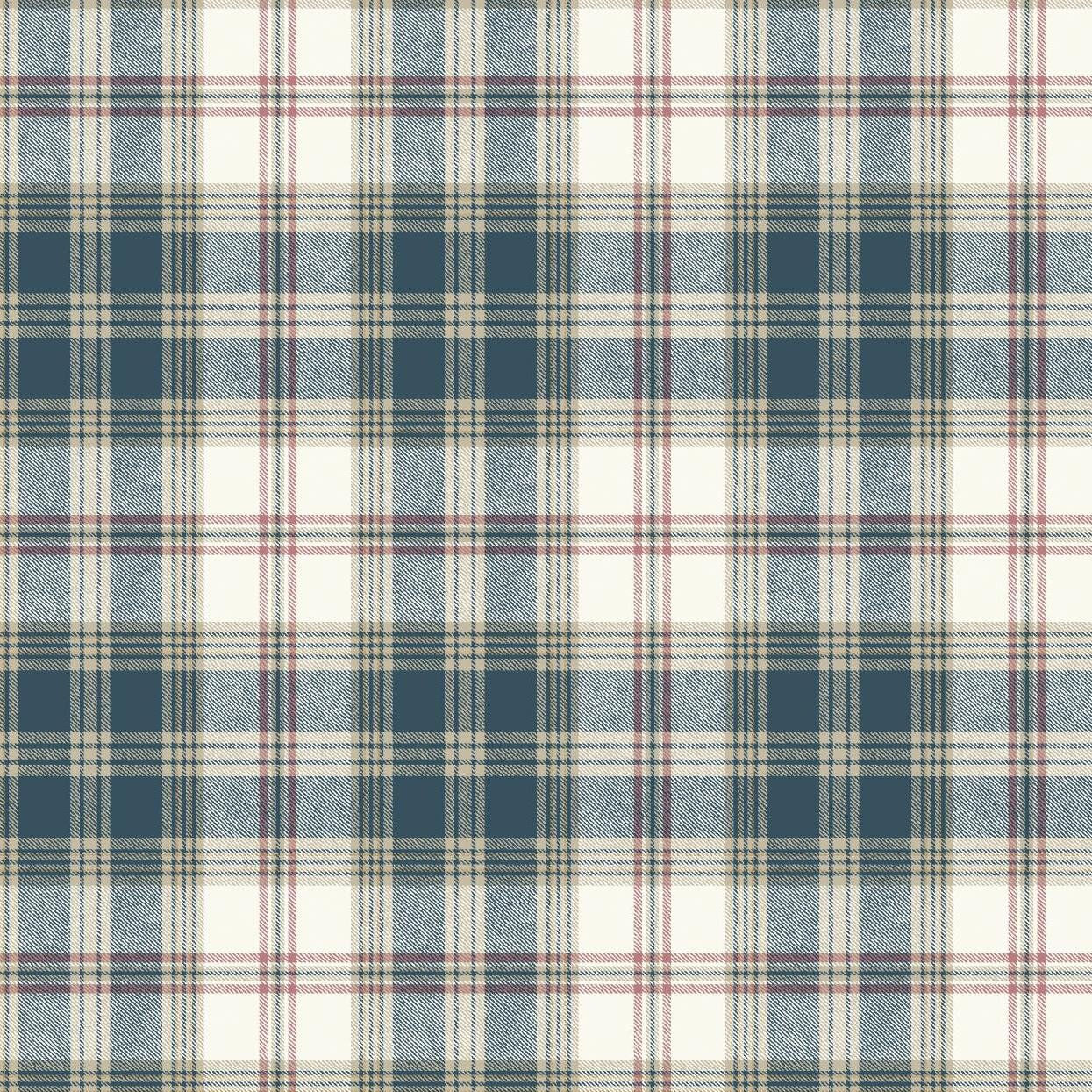 Removable Water-Activated Wallpaper Bold Geometric Abstract Tartan Red Black