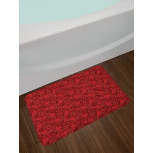 Flower Floral Details with Leaves Swirls Romantic Vivid Vibrant Pattern Art Print Non-Slip Plush Bath Rug