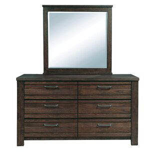 Price Check Tioga 6 Drawer Double Dresser with Mirror by Gracie Oaks