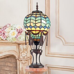 Le Flesselles Hot Air Balloon Illuminated Stained Glass 28 Table Lamp