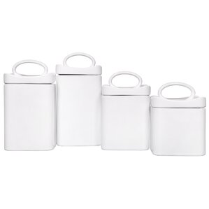 Captivating Wavy Square 4 Piece Kitchen Canister Set