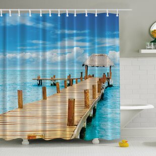Elena Paradise Pier Print Single Shower Curtain