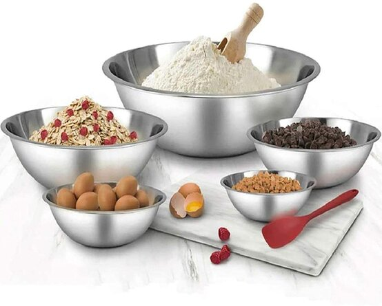 Stainless Steel Mixing Bowls Set Of 5 -Salad Bowl With Scale -Space Saving -Easy To Clean Nesting Bowls, For The Kitchen Restaurant