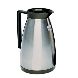 1 Liter 33.8 oz. Service Ideas HPS101 Glass-Lined Carafe Brushed Stainless//Black Accents Vacuum Insulated