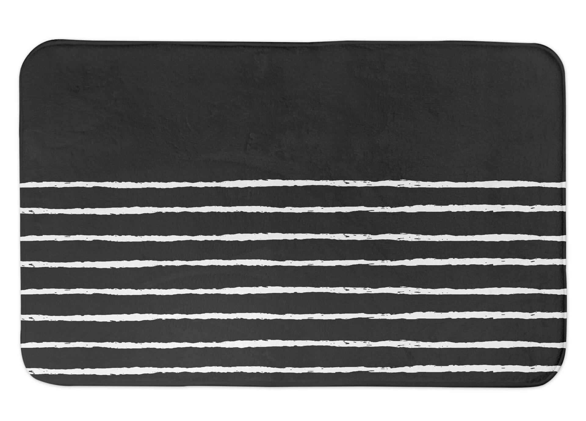 Orren Ellis Stasya Sketch Stripes Rectangle Non Slip Striped Bath Rug Reviews