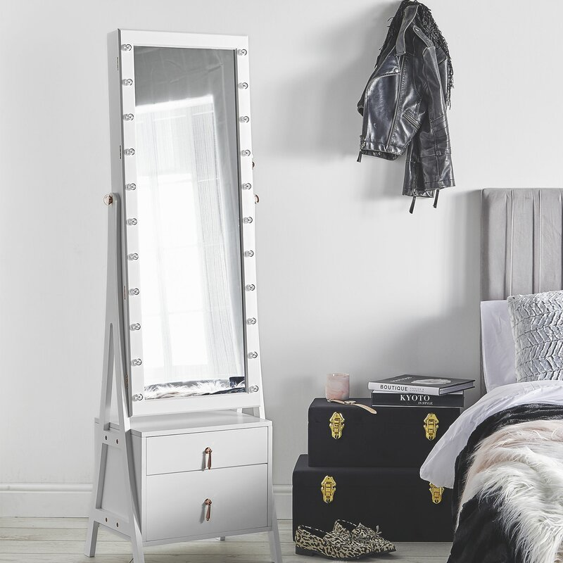 985b5e916 Mercer41 Caudill Free Standing Jewelry Armoire with Mirror & Reviews    Wayfair