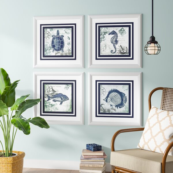 Cute Fish Wall decor set - Seaside 4 Piece Framed Graphic Art Set