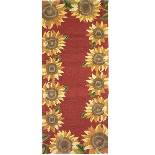 Valois Sunflower Field Red/Yellow Indoor/Outdoor Area Rug