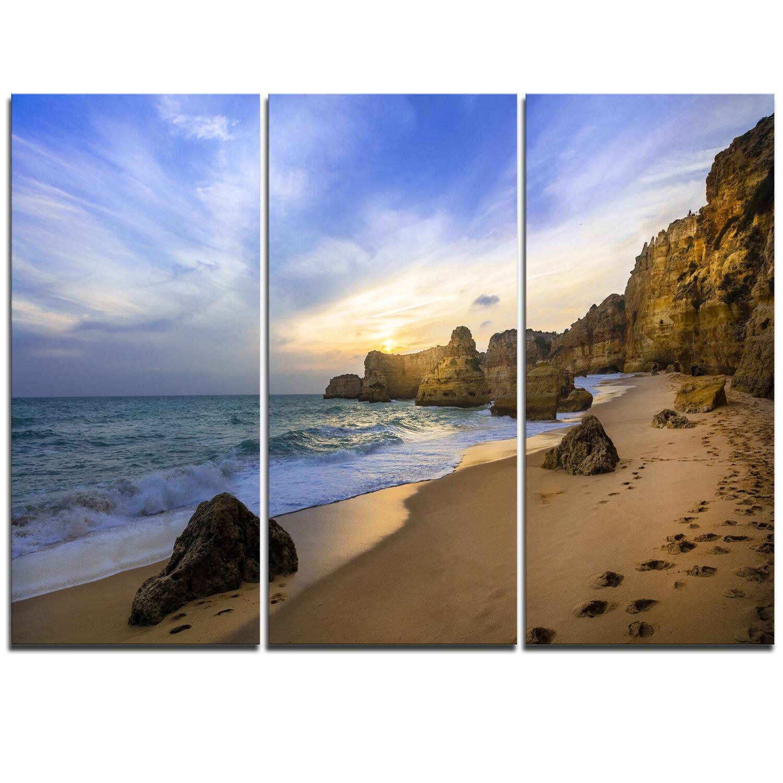 Designart Beautiful Sunset Over Algarve Portugal 3 Piece Graphic Art On Wrapped Canvas Set Wayfair