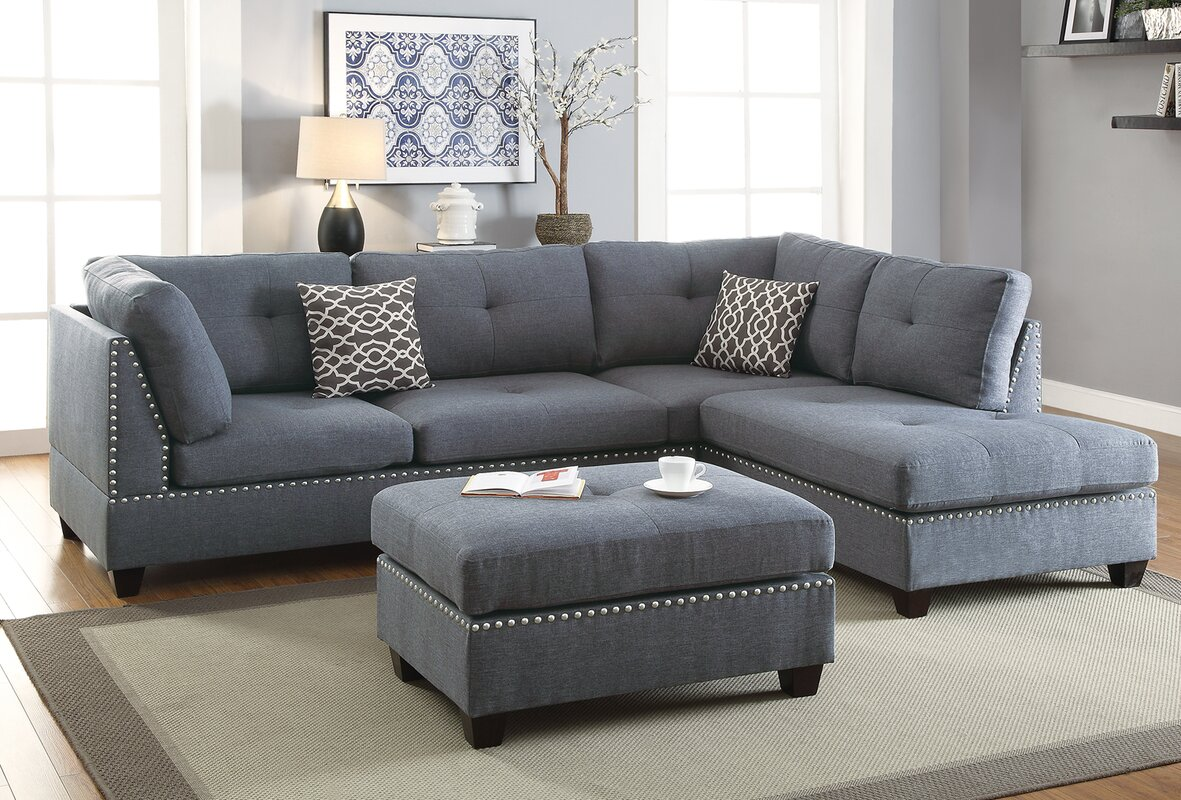 Swan Reversible Sectional with Ottoman