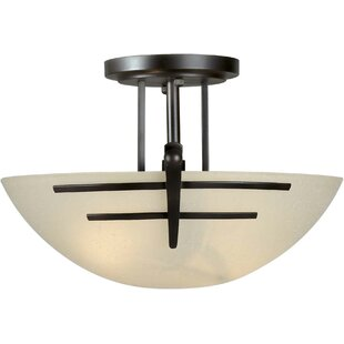 Rolling Hills 2-Light Incandescent Semi Flush Mount by Loon Peak