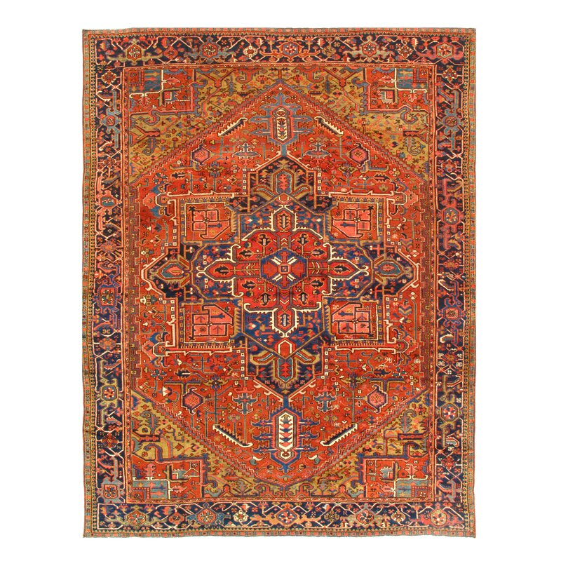Isabelline One Of A Kind Adlie Hand Knotted Orange Blue Brown 9 X 11 8 Wool Area Rug Wayfair