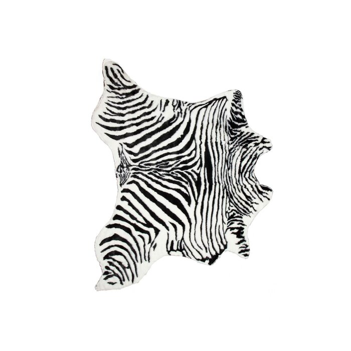 Seaford Zebra Black White Area Rug