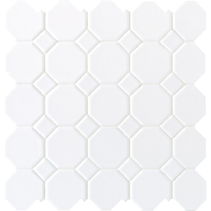Octagon and Dot 2  x 2  Ceramic Mosaic Tile in Glazed Matte White. Daltile Octagon and Dot 2  x 2  Ceramic Mosaic Tile in Glazed