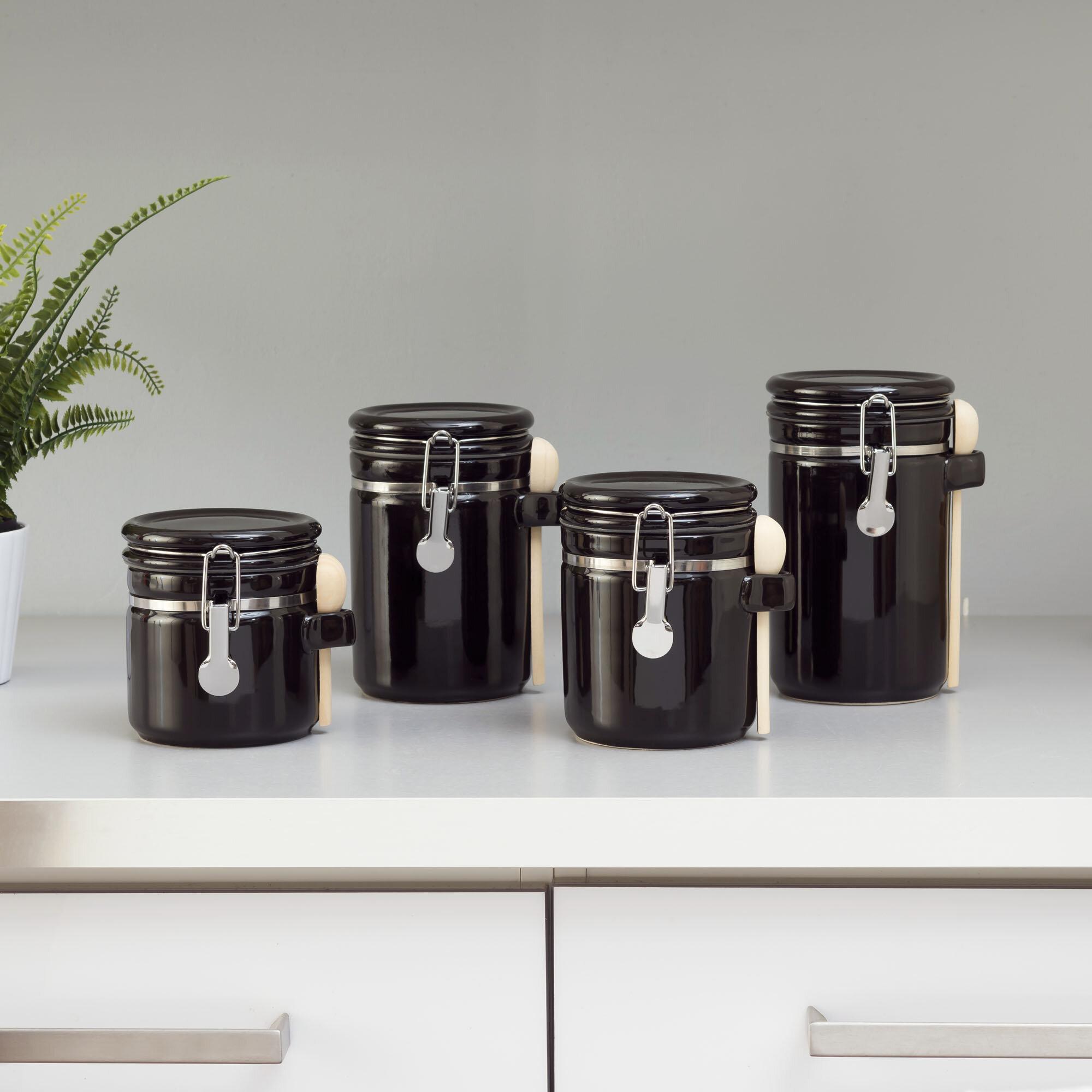 Gracie Oaks 4 Piece Ceramic Kitchen Canister Set Reviews Wayfair