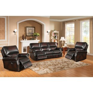 Nevada Reclining 3 Piece Leather Living Room Set Amax