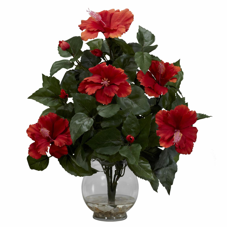 Nearly Natural Hibiscus Silk Flower Arrangement In Fluted Vase