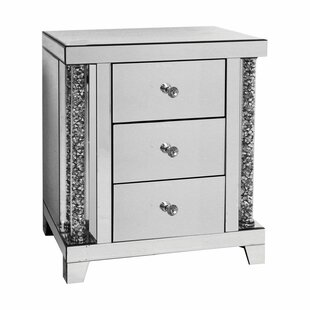 Zooey Mirrored 3 Drawer Nightstand