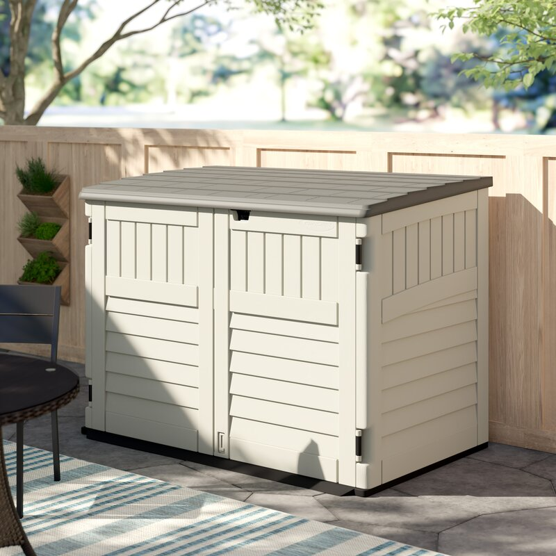 Resin Outdoor 2 Container 6 Ft. W X 4 Ft. D Plastic Horizontal Garbage Storage Shed by Suncast
