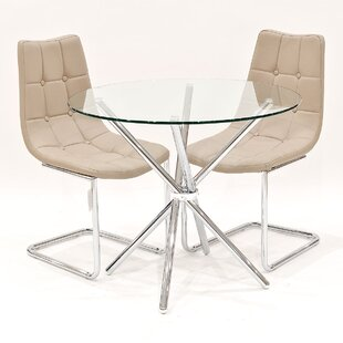 Derby Circular Glass Dining Set With 2 Chairs By Metro Lane