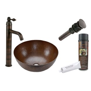 Premier Copper Products Metal Circular Vessel Bathroom Sink with Faucet