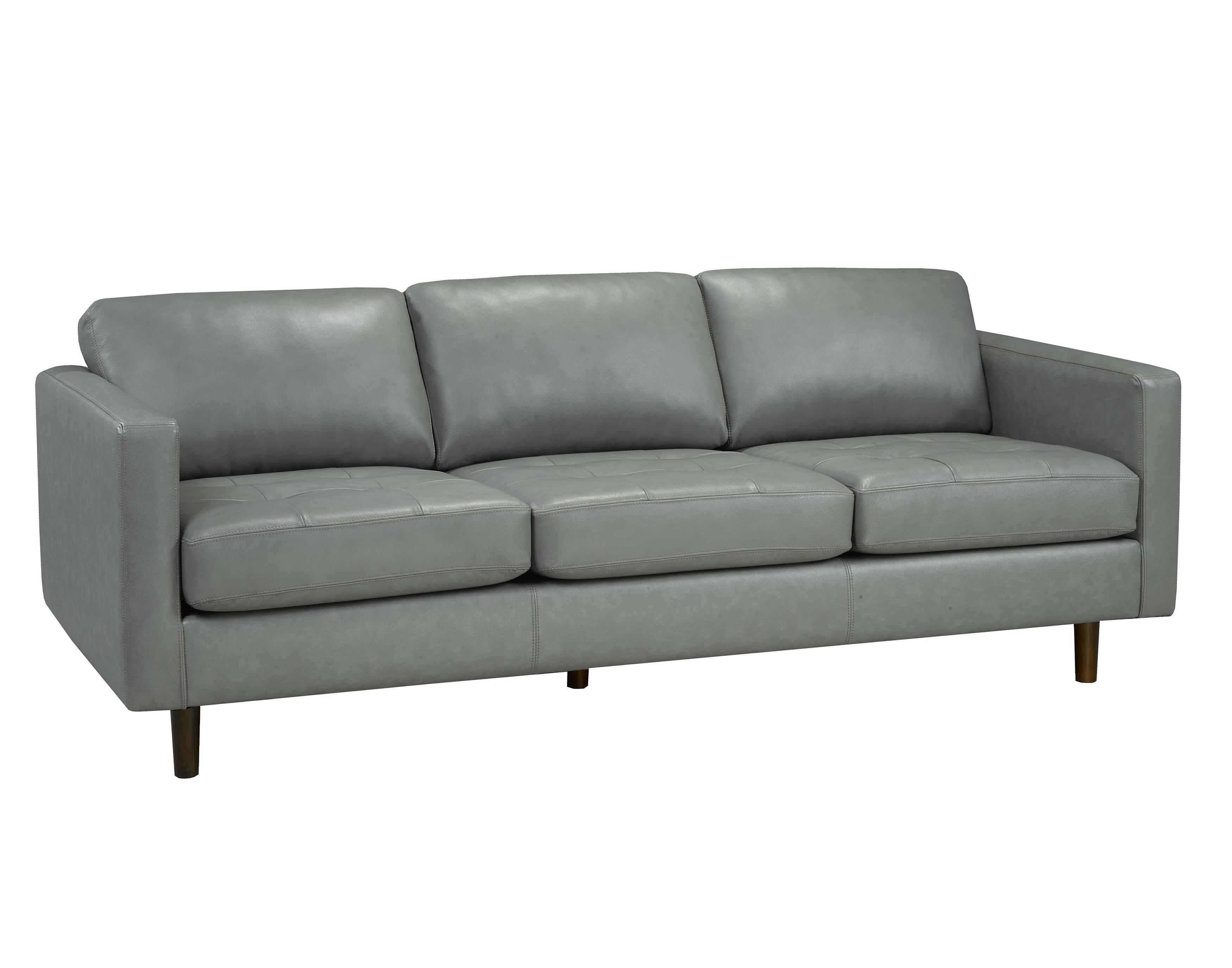Brayden Studio Lassen Genuine Leather Sofa | Wayfair