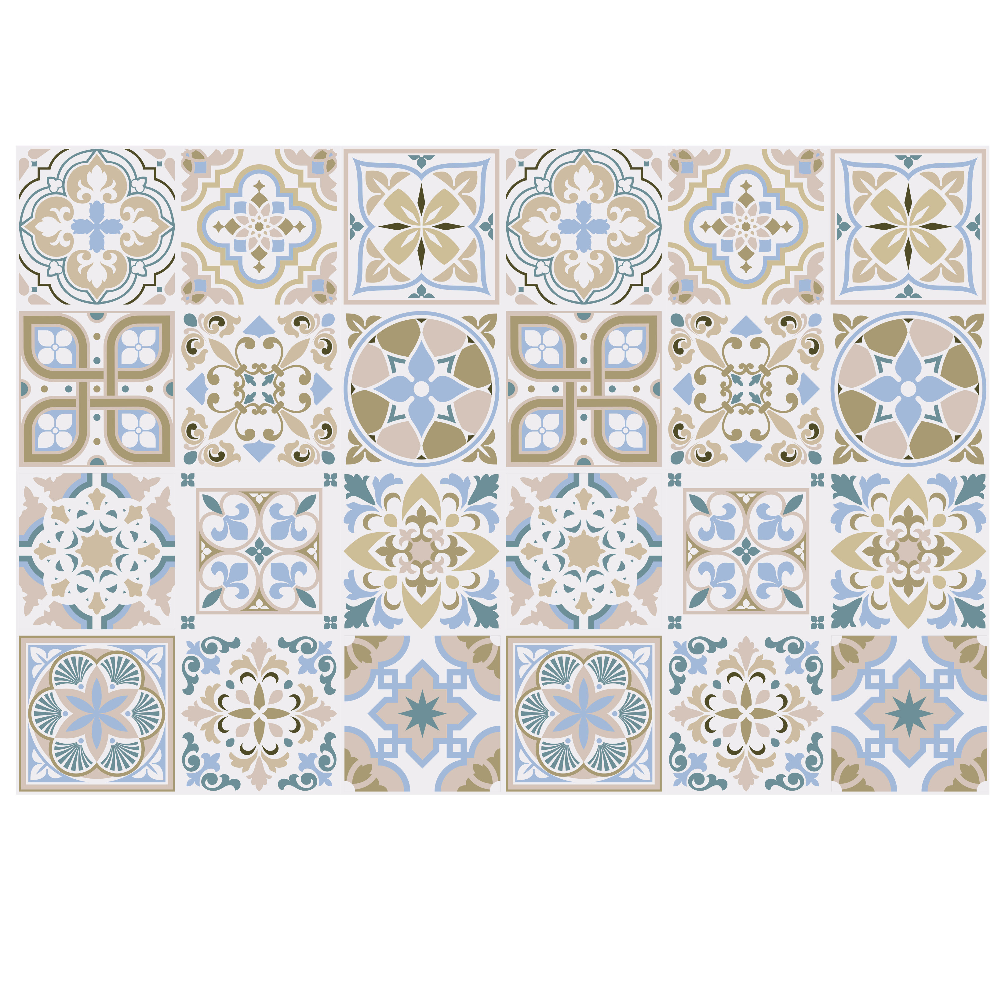 World Menagerie 24 Piece Light Sapphire And Parchment Spanish Tile Window Decal Set Wayfair Ca