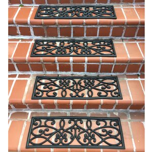 Rubber Scrollwork Black Stair Tread (Set of 4)