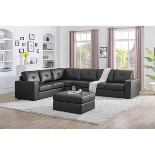Auton 5 Seater Modular Sectional Sofa With Ottoman, Black by Ebern Designs