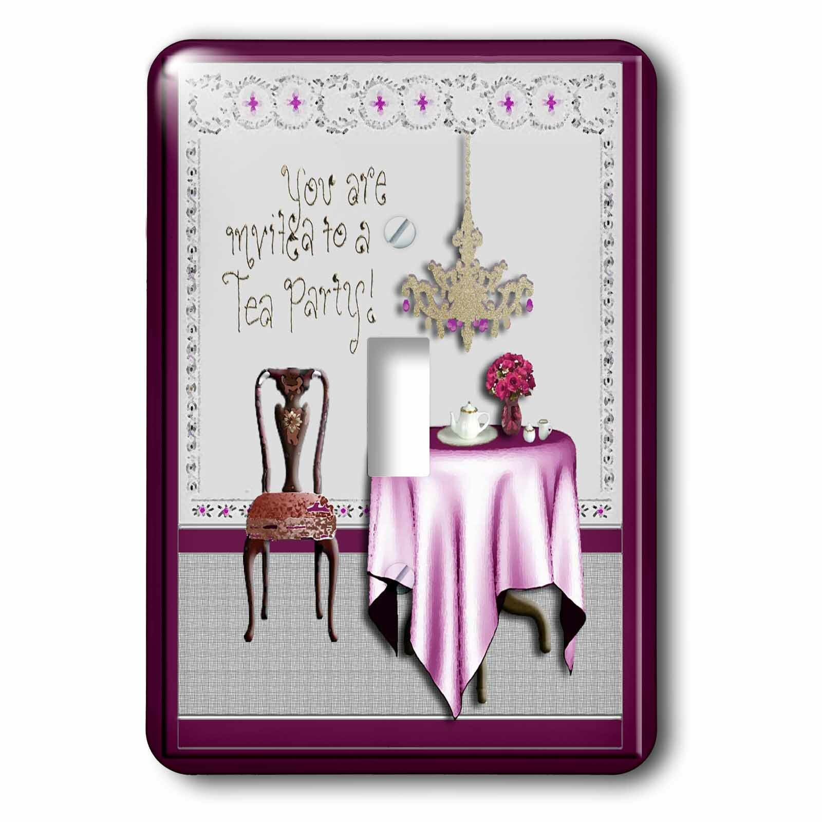 3drose Tea Party Invitation 1 Gang Toggle Light Switch Wall Plate Wayfair