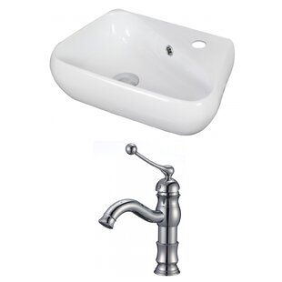 Bargain Unique Ceramic 18 Wall Mount Bathroom Sink with Faucet and Overflow ByAmerican Imaginations