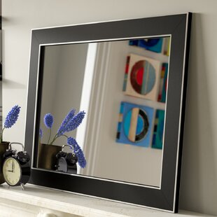 Latitude Run Schaffner Semi Matte Black with Silver Trim Edges Wall Mirror