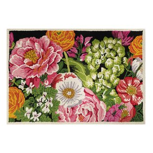Top Reviews Claxton Peonies Hand-Hooked Wool Pink/Green Area Rug By Winston Porter