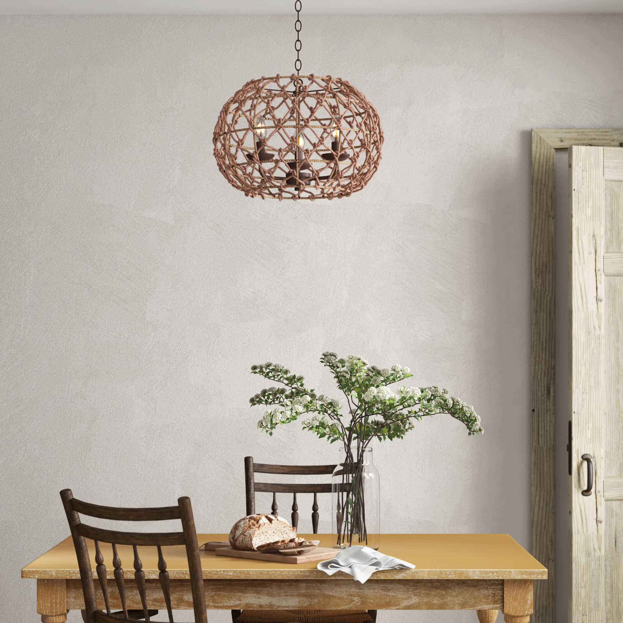 Birch Lane Cadwell 3 Light Candle Style Globe Chandelier With Rope Accents Reviews Wayfair