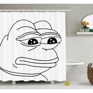 Frog Meme Decor Shower Curtain East Urban Home