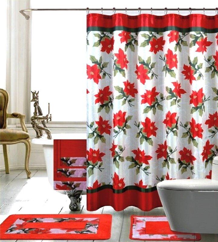 the holiday aisle 18 piece christmas shower curtain set | wayfair